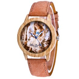 Wholesale Brown Glass Table - Fashion automatic wood border baby background stopwatch casual wood grain case couple F-409 denim table 40mm quartz clock