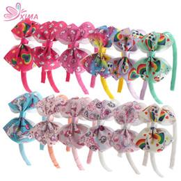 Wholesale Hair Printed Ribbons - XIMA 12pcs lot 4inch Girls Unicorn Hair Bows Ribbon Printing Unicorn Hairband for Wholesale Hair Accessories