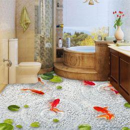 Wholesale 3d Fish Wall Stickers - beibehang Lotus leaf fish Custom photo Wallpaper Waterproof Self-adhesive Wall Sticker 3D Floor Painting Mural Wall Paper roll