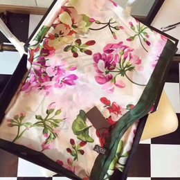 Wholesale Scarves Designers - Luxury Brand Silk scarf for Women 2018 Spring Designer Floral Flower Long Scarves Wrap With Tag 180x90Cm Shawls S223