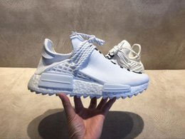 Wholesale Running Sun - 2018 Shoes With Box Mens And Womens NMD Trail Human Race HU Pharrell ChanelColette Sneakers Sun Glow Running Shoes US5.5-11.5