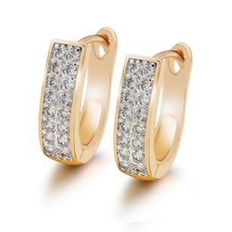 Wholesale favorite earrings - (415E) MGFam (Special price ) 2018 Women's Favorite Hoop Earrings Small Stone Jewelry 18k Gold Plated with Evironmental Copper