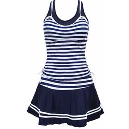 Спортивный купальник онлайн-MUXILOVE женщины школа спортивный стиль купальники темно-синий полосы печати Tankinis две части платье купальники плюс размер M~4XL