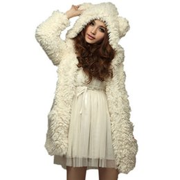 Wholesale Faux Fur Trim Jacket - Casual Faux Fur Coat for Women Ladies in Winter Hooded Full Sleeve Black and White Colour Soft women fur jacket High Quality