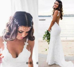 Wholesale Simple Sheath Dresses - Sexy Lace Wedding Dresses Country Style Count Train Deep V Neck Backless Sheath Wedding Dress Hoho Cheap Mermaid Bridal Gowns Simple Wear