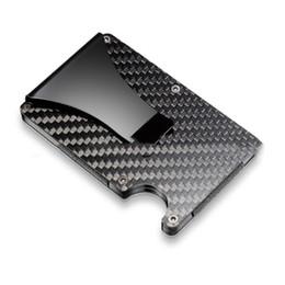 Wholesale Mens Rfid Wallets - 10PC Lot Mens Carbon Fiber Credit Card Holder RFID Blocking Slim Wallet Money Clip Purse