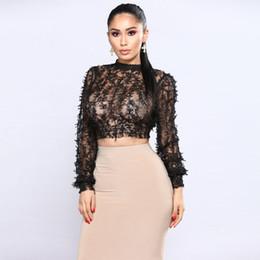 281ffa2297 fitted black t shirts women Canada - Sexy Women Sheer Lace Crop Top High  Neck Long