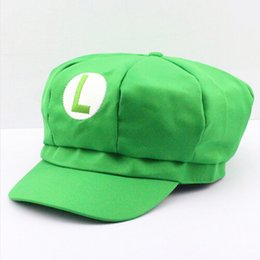Wholesale mario luigi costumes adults - New Super Mario Cotton Caps hat Red Mario and luigi cap 5 colors Anime Cosplay Halloween Costume Buckle Hats Adult Hats Caps