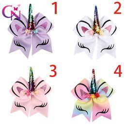 Wholesale Multi Color Chiffon Headbands - 2018 Newest Princess Unicorn Headband Cheer Bow With Chiffon Flowers and pearl Ponytail Holder Jojo Siwa Cheerleading Bows For girls