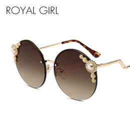 b4139fbeabc5 China ROYAL GIRL Rimless Sunglasses Women Brand Designer Modern Round Sun  Glasses Female Vintage Pearl Metal