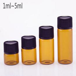 1 ml 2 ml 3 ml 5 ml Mini ámbar de vidrio esencial de la botella de aceite  orificio reductor tapa tapas frascos de vidrio de color marrón Jar envío  gratis 16a4b20dad65