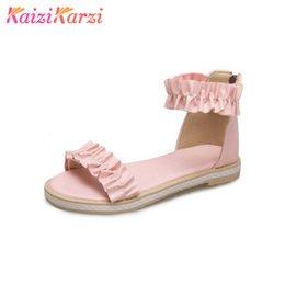 Wholesale Zipper Shoes For Men - KaiziKarzi Simple Flats Women Sandals Ankle Wrap Zipper Ruffles Summer Sweety Women Shoes For Daily Vacation Footwear Size 34-43