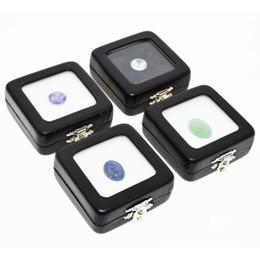 Pietre del gioiello nero online-Scatola di custodie in preziosa pietra preziosa con perline di chiusura Diamanti Artigianato in pietra Scatole per gioielli in nero con cassa in vetro trasparente