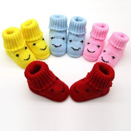 Wholesale pink newborn booties - Newborn Infant Toddler Girls Winter Warm Booties Newborns Cute Smiley Face Snow Shoes Baby Walker Crib Boots