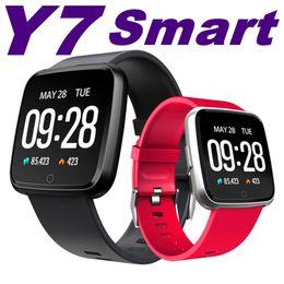 gv18 водонепроницаемые часы Скидка Y7 смарт-браслет наручные часы металл Heartrate трекер водонепроницаемый IP67 браслет смарт-часы Android Smartwatch телефон