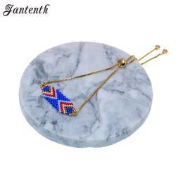 Большая бортовая цепь онлайн-Jantenth Handmade Miyuki  Charm Bracelet Gold Color Adjustable Chain Small and Large Wrist Friendship Bracelet For Summer