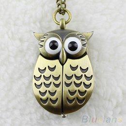 Wholesale Pocket Watch Vintage Owl - Vintage Bronze Retro Slide Smart Owl Pocket Pendant Long Necklace Watch 8JUH