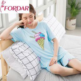New Summer Kawaii Night Home Wear Women Pajamas Set Icecream Printed Loose  Elegant Shorts Leisure 2 Piece Set Suits Sweet Pyjama d51c9902b
