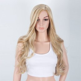 Wholesale Wig Golden - AISI HAIR Long Mixed Blond Wavy Wigs for Woman Golden Side Part Hair for Female Long Curly Wig No Bangs Synthetic Fiber Wig