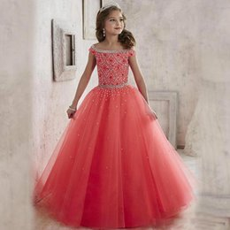brithday dresses Coupons - 2019 Beauty Tulle Princess Pageant Flower Girl's Dress For Wedding Brithday Party Dress Off shoulder sequin Beaded Pageant Gowns