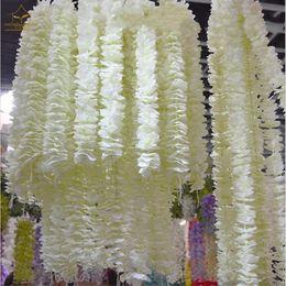 1 metro lungo elegante da passeggio Orchid Silk Flower Vine White Wisteria Garland Ornament per il Festival Wedding Garden Decoration supplier long white flowers silk da lunghi fiori bianchi seta fornitori