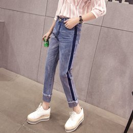 Wholesale Roll Coat - 2018 spring and summer high waist boyfriend jeans for women whisker roll-up tassel women jeans denim femme S-XL