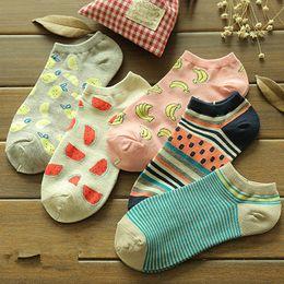 Wholesale ladies christmas ankle socks - Women 'S Fruit Printed Cotton Casual Cat Socks Ladies Lovely Female Girl Men Sock Cute Christmas Gift Hosiery