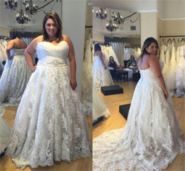 Wholesale Aline Gowns - Modest Plus Size Oleg Cassini ALine Wedding Dresses With Crystal Belt Sweetheart Neck Floor Length Cheap Simple Lace Applique Bridal Gowns