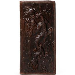 animal card clip UK - Vintage Bifold Dragon 3D Embossing Oil Genuine Leather Wallet Purse Money Clip Card Holder Long Vertical Retro Style Dragon Wallet For Men