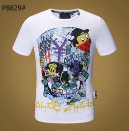 Patineta camiseta hombre online-Nuevos hombres camiseta mangas cortas de algodón cráneos impresiones camiseta cuello redondo Slim Tee hombre moda jersey tapas de skate 100% algodón G19199