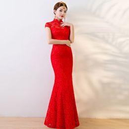 8f1de6c134f45 Été mariée rouge qipao 2018 sexy long poisson mariage Cheongsam moderne  chinois robe de soirée traditionnelle robes de style oriental robe chinoise  style ...