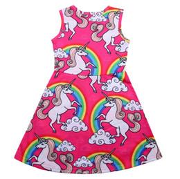 Wholesale fairy pattern - Girls Unicorn Rainbow Dress Animal Pattern Printed Sleeveless Dress Party Fairy Dress Children Clothing 4-9Y EEA40