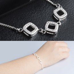 Wholesale love square bracelet - New Trendy 2018 Unique Zirconia Jewelry Silver Color Leaf Charm CZ Crystal Female Hollow square Bracelets Bangles For Women S219