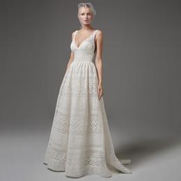 Böhmisches hochzeitskleid xl online-Sommer weiße Spitze langes Kleid Bohemian Wedding Tulle Kleid Sleeveless lange Brautkleider Weibliche vestidos Honeymoon Reise Kleidung