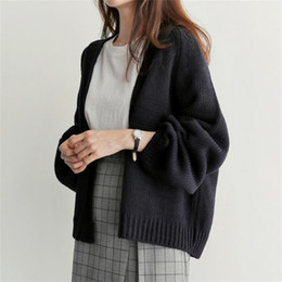 9d3100bb16 Women Sweater short Cardigan 2018 Fashion Autumn Winter Style Long Sleeve  Loose Thick Knitted Cardigan female Sweaters Long Coat