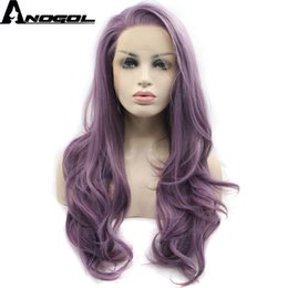 Wholesale High Temperature Fiber Wigs - Anogol Glueless High Temperature Fiber Natural Hairline Hair Wigs Soft Swiss Purple Long Wavy Synthetic Lace Front Wig for Women