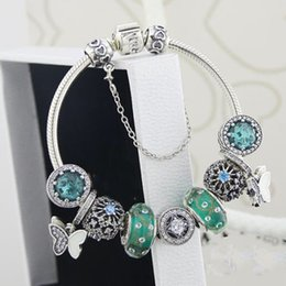 Wholesale Original Agate - 2018 best gifts collection green charm bracelets top quality 925 sterling silver jewelry full original package