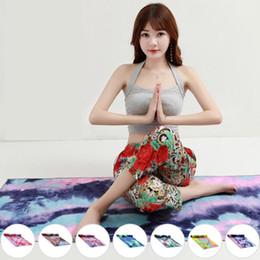 Mantas únicas online-Unique Tie Die Printing Rectángulo Yoga Mat Non Slip Sports Fitness Toalla de toalla con bolsa neta ensanchada Dance Pad Drape 183x63cm