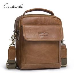 Wholesale ipad vintage - CONTACT'S Genuine Leather Shoulder Bags Fashion Men Messenger Bag Small ipad Male Tote Vintage New Crossbody Bags Men's Handbags