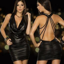 danza atractiva para mujer Rebajas Langerie erótica sexy para mujer lencería sexy negro traje de cuero de látex sin respaldo erótico noche clubwear pole dance dress d18110701