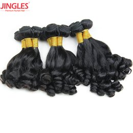 Wholesale machine drawing - 9A Jingleshair Aunty funmi Malaysian Virgin human hair bundles cuticle aligned Double Drawn Wefts natural black Extensions Wholsale cheap