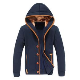Codo de la chaqueta online-2016 Primavera Otoño Nueva Moda Hombres Fleece Elbow Patch Hooded Single Breasted Hoodies Hombres Casual Sudadera Chaqueta Chándal