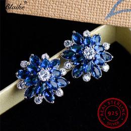 Flor de safira azul on-line-Blaike 100% Sólido S925 Prata Esterlina Flor Brincos Para As Mulheres Azul Safira Birthstone Zircon Floco De Neve Brincos Jóias