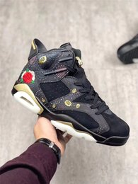 Wholesale Embroidery Lace Shoes - 2018 AIR RETROS 6 CNY BASKETBALL SHOES MEN CHINESE NEW YEAR EXQUISITE FLORAL EMBROIDERY METALLIC GOLD-MULTI NOIR BIG BOY SNEAKERS