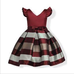 2018 nova moda menina vestido de pequenas mangas listras princesa princesa 100-160 cm de