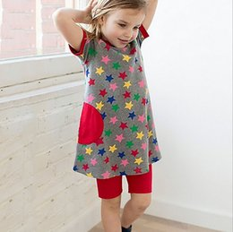 Wholesale Loose Dress Styles - Little maven 2018 new summer European and American style baby Kids loose and comfortable dress kids high quality cotton star printed dress