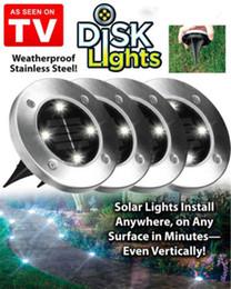 хэллоуин ярдов огни Скидка Открытый диск огни солнечный диск огни солнечной энергии 4 LED водонепроницаемый открытый портативный фонари туризм кемпинг сад лестничные огни MK304