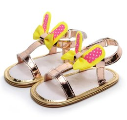 Wholesale muscle rabbit - Cute infant baby girls shoes rabbit style summer toddler moccasin Nonslip hard bottom first walker outdoor shoes hot sale