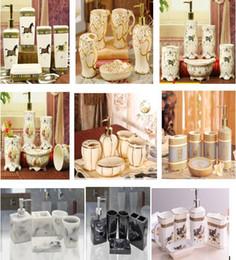 Wholesale white dish sets - Leaf Shape 23 Ceramic Bathroom Accessories Elegant 5 Pieces Bathroom sets 1 soap bottle+1 soap dish +1toothbrush holder+2 cups white color