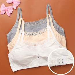 простой бюстгальтер Скидка (CC.AMILY)Solid Color Simple Style Girls Teenager Students Bras Cotton Vest Underwear Breathable Thin Style Brassiere FS0381